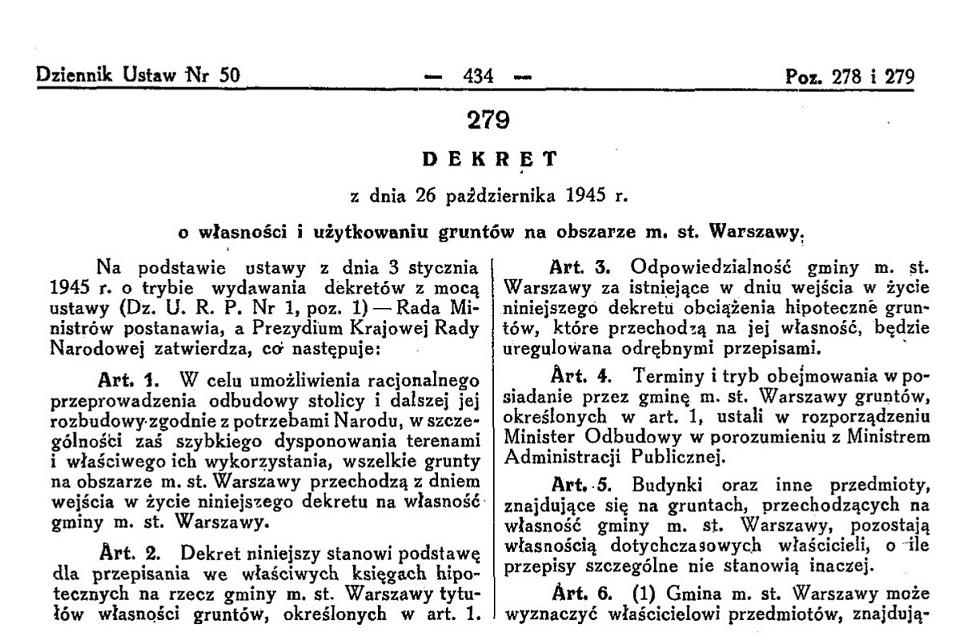 dekret Bieruta reprywatyzacja grunty warszawskie