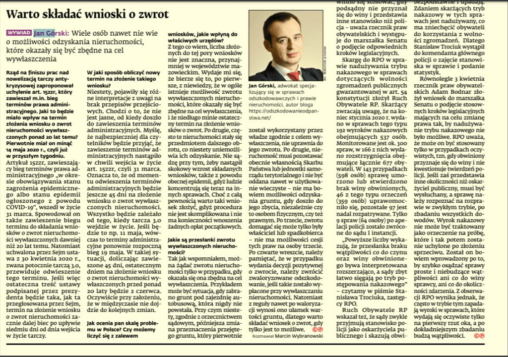wniosek ozwrot nieruchomości gazeta wywiad